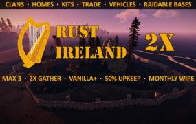 Rust Ireland - 2x - Max3 | Vanilla+ | 50% Upkeep | Monthly